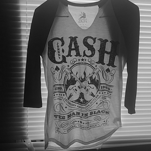zion rootswear Tops - Johnny cash black & white shirt